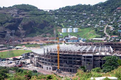 The old stadium being rebuilt by the Government of China in time for World Cup Cricket, April 2007