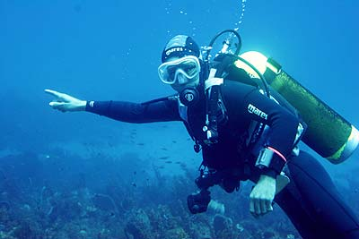 Dive master Clive showing me the way