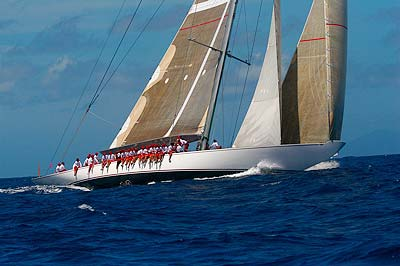 sv Ranger a J5 sailing past us on Amanzi during the racing