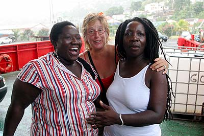 A family gathering, Lafayette (Cheryl's daughter), Kim and Rasta Woman Cheryl Johnston