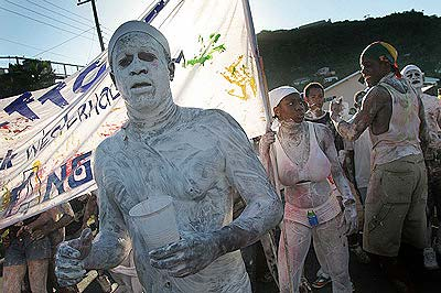 The white angels jiving through J'ouvert.