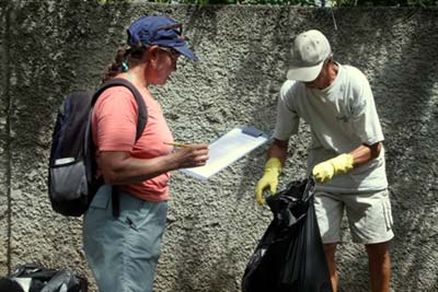 Recording the data of what garbage is collected while doing the clean up in Grenada.