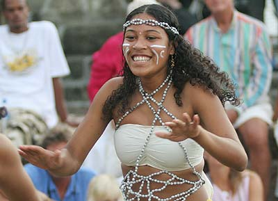 Young Caribs reviving their culture through performances of their traditional Carib dances.
