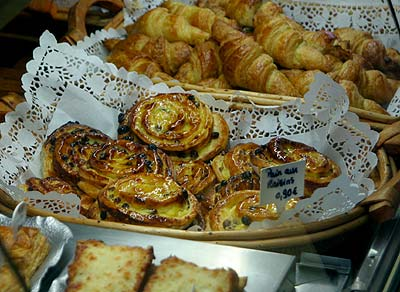 Beautiful pastries in the patisserie where we would buy our baguettes every day in Deshaies, Guadeloupe.