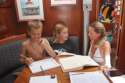 John, Daniel and the mom/teacher Val on sv Eira.