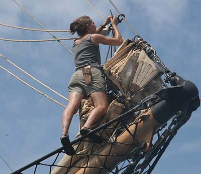A student on board the Cramer preparing some of the rigging.